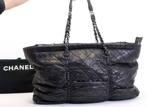 Chanel Xl Black Lambskin Tote Bag