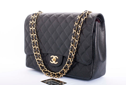 Auth. CHANEL Caviar Quilted Maxi Double Flap Black MINT GHW Ret. 00
