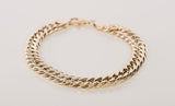 Men's 18k Yellow Gold Cuban Link Chain Bracelet