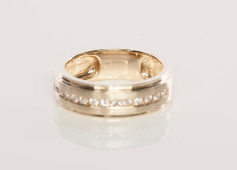 Gents 14K Gold and Diamond Band