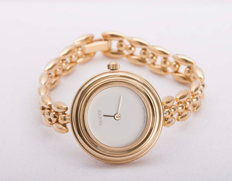 3ac698ae7f2 Authentic Vintage GUCCI 11 12.2 Ladies Gold Plated Bracelet Watch ...
