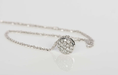 Beautiful 14K Cluster Diamond Necklace