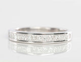 18K White Gold Channel Set Princess Cut Diamond Band