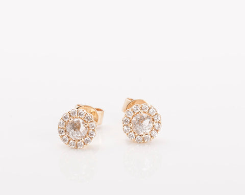14k Yellow Gold Halo Diamond Stud Earrings .61TCW