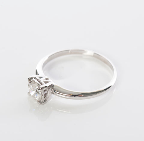 Beautiful 14KWG 1/2CT Round Diamond Solitaire Engagement Ring