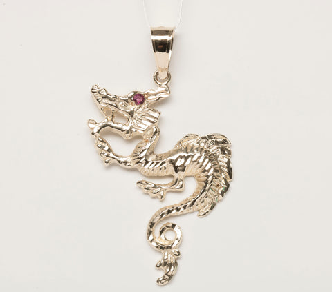 14k Ruby Dragon Pendant Yellow Gold