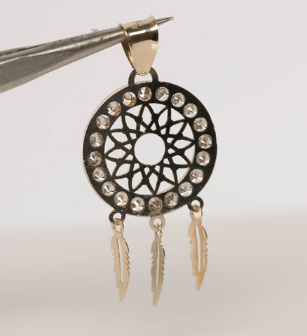 10K Yellow Gold Dreamcatcher Pendant with Cubic Zirconia