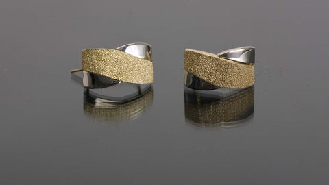 Two-Towned 18K Gold Earrings