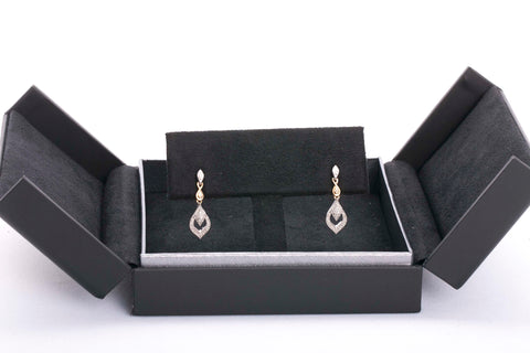 14k 2 tone Diamond Dangle Earrings