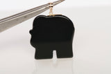 14k Yellow Gold Black Onyx Elephant Pendant