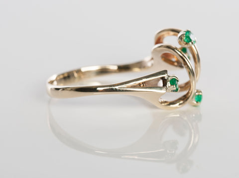 Emerald Cocktail Ring 14k Yellow Gold Size 8.5