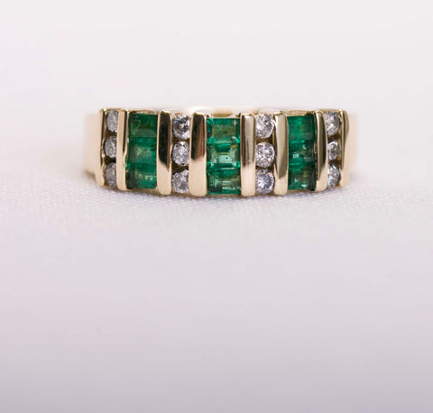 Emerald and Diamond Ring/Band Gold
