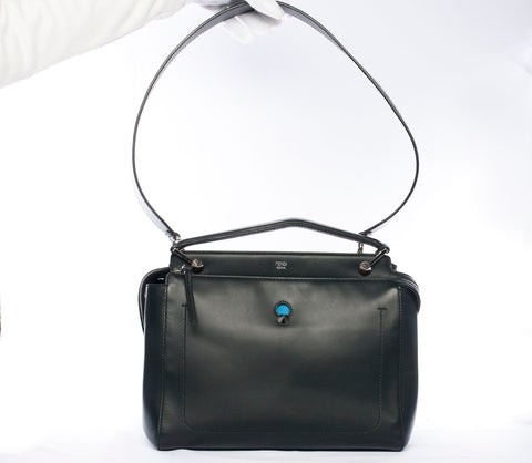 Authentic FENDI Dotcom Leather Satchel 2-Way Handbag