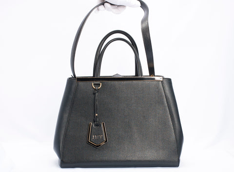 Authentic FENDI 2Jours Medium Leather Satchel Tote