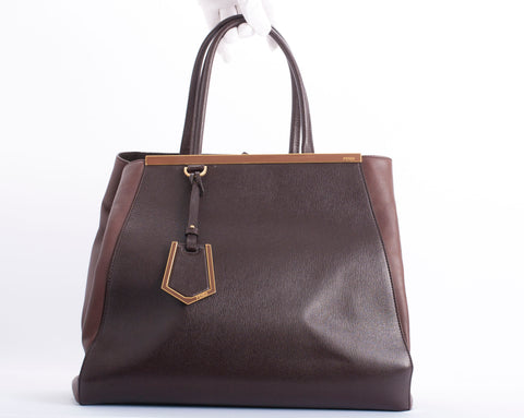 Authentic FENDI Two Jours Large Leather Tote