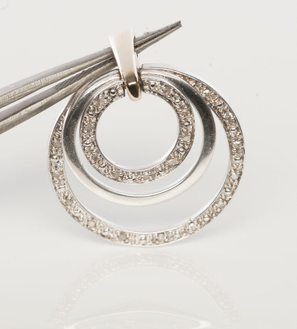 10K Gold, Silver and Diamond Circle Pendant