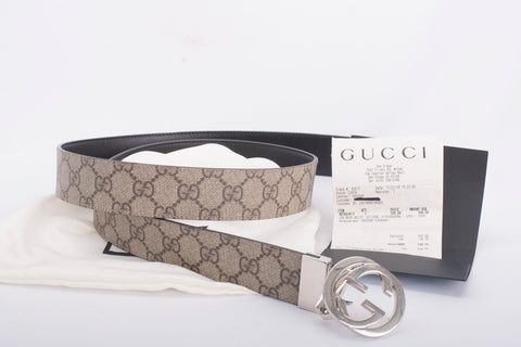 Authentic GUCCI Men's Reversible GG Supreme Belt