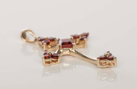 14k Yellow Gold Garnet Cross Pendant