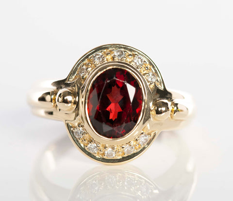 14k Gold Garnet and Diamond Ring