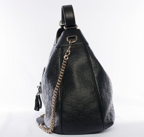 Authentic GUCCI Emily Guccissima Medium Leather Hobo Chain Shoulder Bag