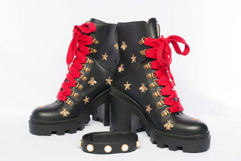 Authentic Gucci Ladies Embroidered Bee & Star Combat Boots/Booties