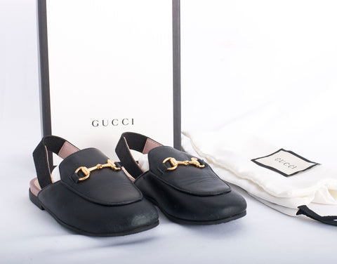 Authentic GUCCI Toddler Princetown Horsebit Leather Slipper Loafer Shoes