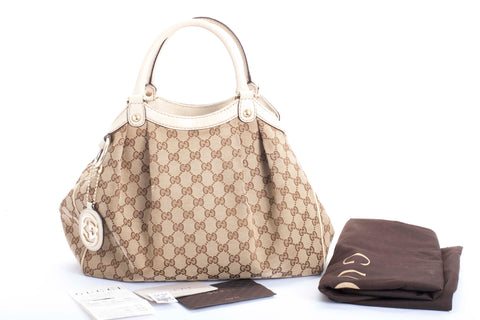 Auth Gucci Medium GG Sukey Hobo Bag with Receipt