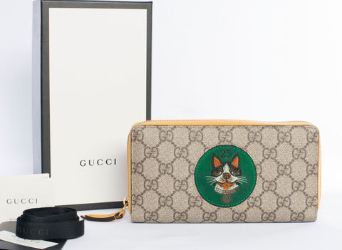 Authentic GUCCI GG Supreme Zip Around with Bosco Patch Wallet