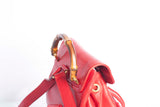 Authentic Vintage Gucci Bamboo Red Leather Backpack
