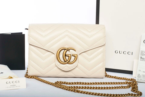 Authentic GUCCI Matelasse Leather Wallet on Chain Shoulder Bag