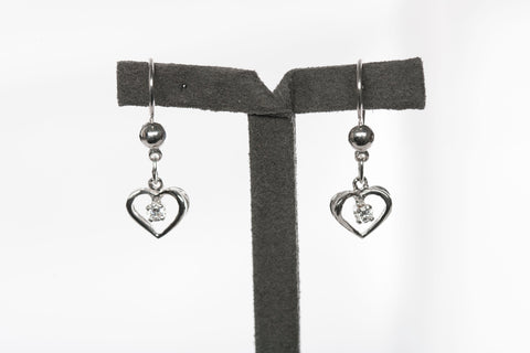 14KW Gold Heart CZ Dangle Earrings