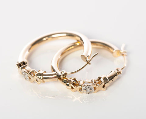 Gold Hoop Earrings with Small Diamond