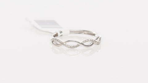 Beautiful 10K White Gold & Diamond Infinity Band Ring