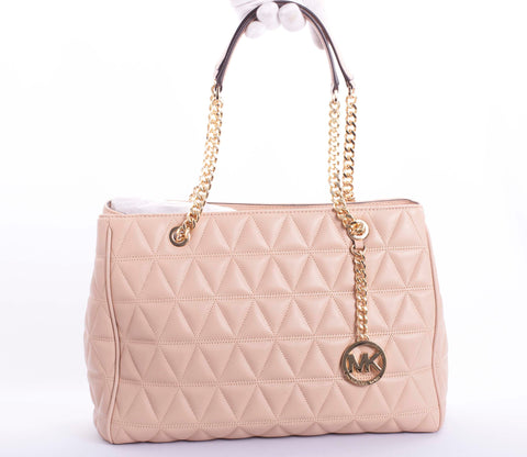 Authentic MICHAEL KORS Susannah Quilted Leather Oyster Shoulder Bag