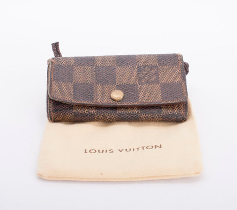 Authentic LOUIS VUITTON Damier Ebene 4 Ring Key Holder