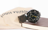 Authentic LOUIS VUITTON Mens Tambour GMT Automatique Watch