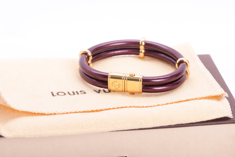 Authentic LOUIS VUITTON Keep It Twice Padlock Charm Bracelet