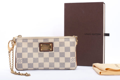 Authentic LOUIS VUITTON Damier Azur Milla Pochette Wristlet Clutch