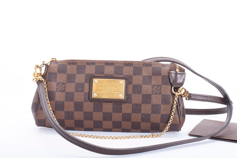 Authentic LOUIS VUITTON Eva Damier Ebene Crossbody Handbag