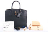 Authentic Louis Vuitton Black Leather City Steamer MM Tote Handbag
