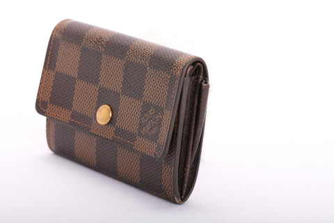 Auth. LOUIS VUITTON LUDLOW Damier Ebene Wallet Coin Purse Made in France
