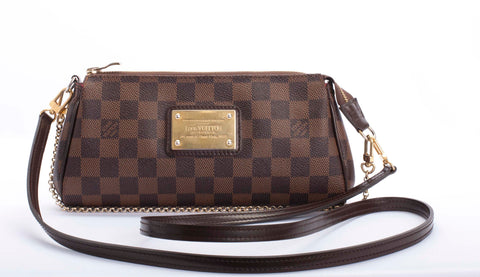 Auth. LOUIS VUITTON Damier Ebene Eva Cluth Shoulder Bag W/COA