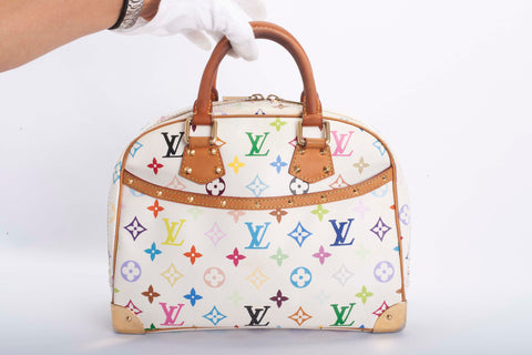 Auth Louis Vuitton Trouville Multicolor Monogram Handbag with COA
