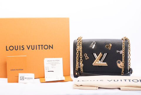 Authentic LOUIS VUITTON Epi Leather Twist Lock Love Charm Shoulder Bag