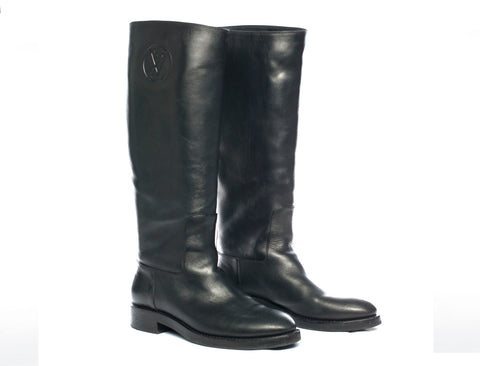 Authentic Louis Vuitton Leather Black Overdrive Flat Boots