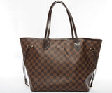 Louis Vuitton Damier Ebene Neverfull MM Shoulder Bag w/ COA