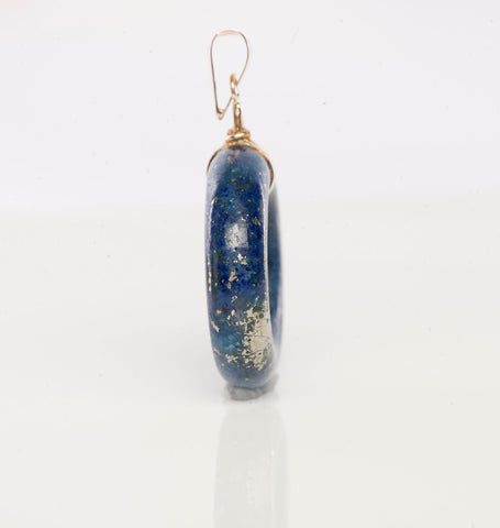 "14K Yellow Gold Lapis Pendant with Gold ""Long Life"" Character"