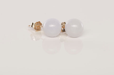 Sweet Jade Ball 14k Yellow Gold Stud Earrings