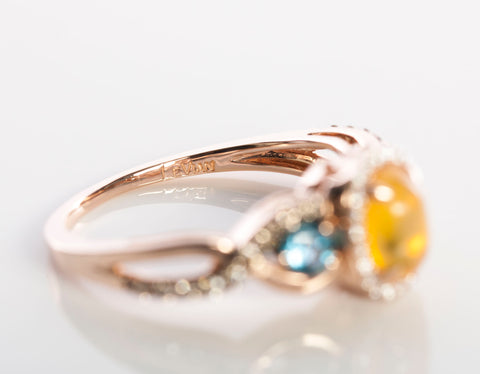 LeVian Opal, Diamond, and Blue Topaz Ring Rose Gold