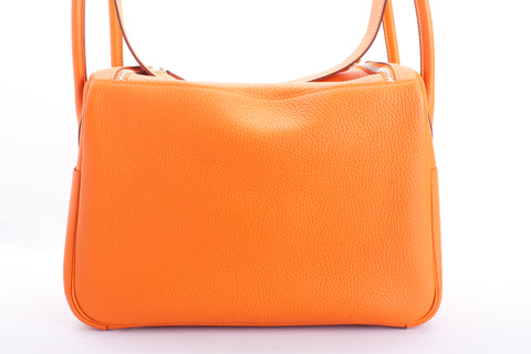 Authentic HERMES Lindy 30 Classic Orange Clemence Leather Handbag NWOT